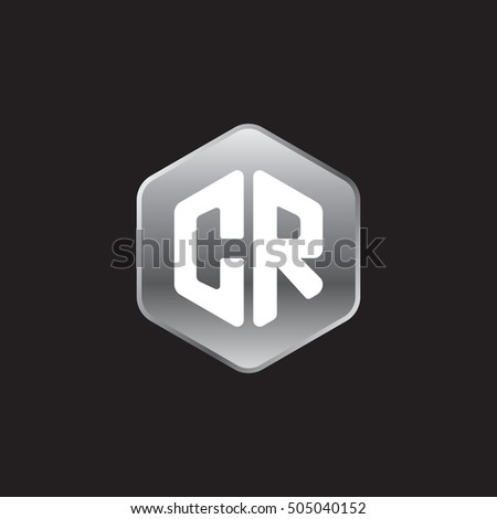 Initial letters CR rounded hexagon shape silver modern logo
