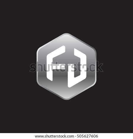Initial letters FJ rounded hexagon shape silver modern logo