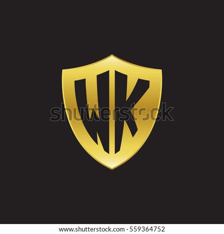 Initial Letters Wk Shield Shape Gold Logo