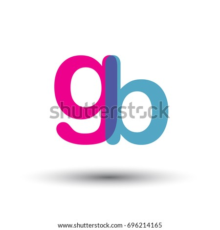 Initial Logo GB Lowercase Letter Blue And Pink Overlap Transparent Modern Simple