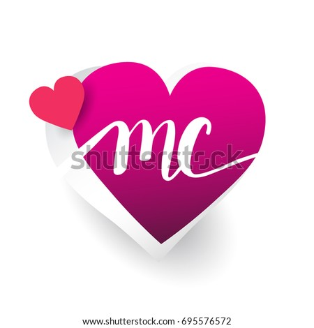 initial logo letter MC with heart shape red colored, logo design for wedding invitation, wedding name and business name.