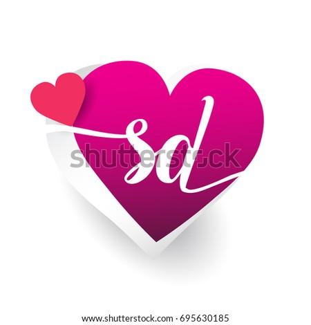 Initial Logo Letter Sd Heart Shape Stock Vector