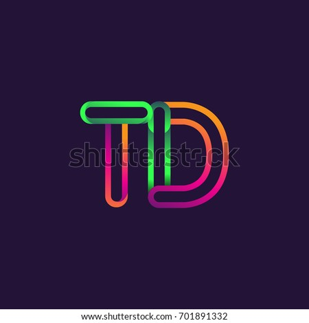 Initial Logo Letter Td Linked Outline Stock Vector Hd Royalty Free