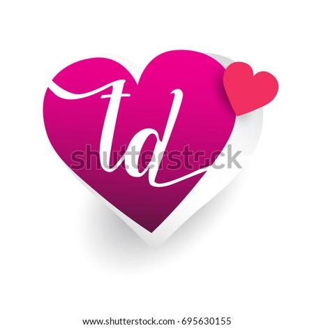 Initial Logo Letter Td Heart Shape Stock Vector Royalty Free