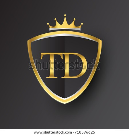 Initial Logo Letter Td Shield Crown Stock Vector 718596625