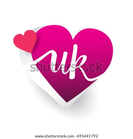 initial logo letter UK with heart shape red colored, logo design for wedding invitation, wedding name and business name.