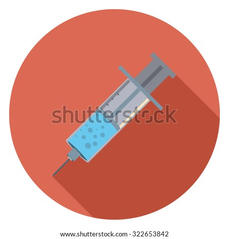 injection flat icon in circle - stock vector