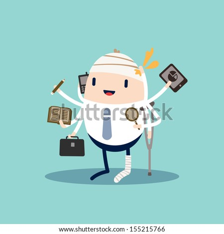 Injured Business man with tablet, phone, pencil and briefcase - stock vector