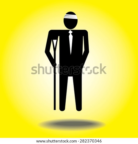 injured cartoon businessman in bandage with crutches.headache - stock vector