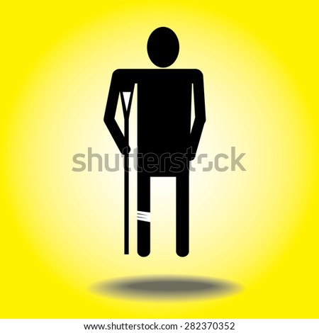injured cartoon businessman in bandage with crutches.leg pain - stock vector