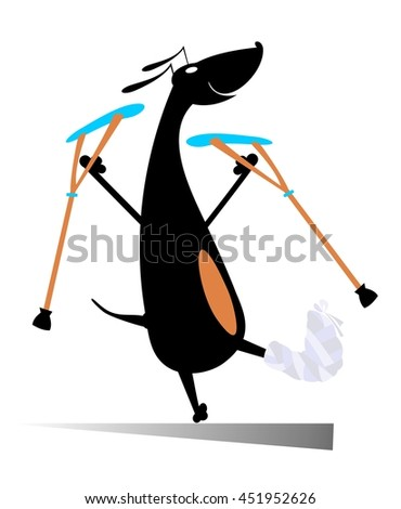 Injured dog. Comic dog with bandage and crutches  - stock vector