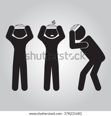 Injured men in bandages sign icon illustration - stock vector