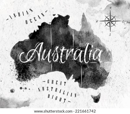Ink Australia map in vector format black and white graphics in vintage style - stock vector