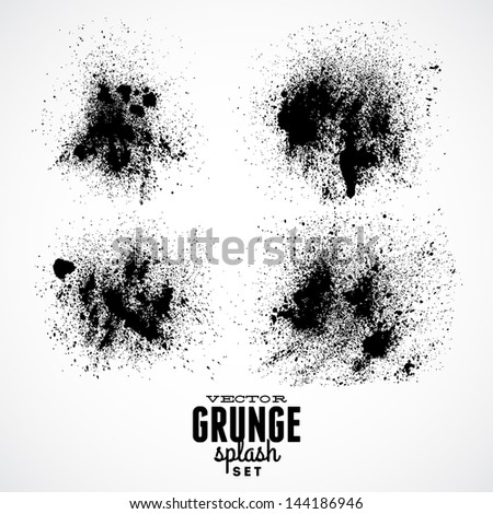 Ink Black Grunge Splat Set - stock vector
