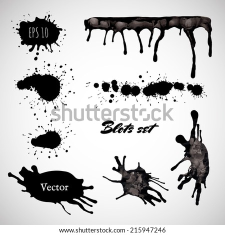 Ink blot collection isolated on white background. Vector element for Your design. - stock vector