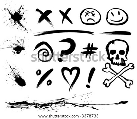 Ink Blotches and Symbols (in layers, also available in high-res jpg) - stock vector