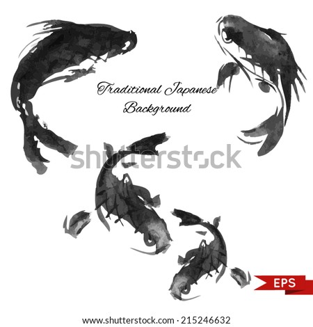 Ink carp illustration in traditional style. Vector image. - stock vector