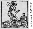 ink drawing medieval vector picture, black death - pestilence allegory - stock photo