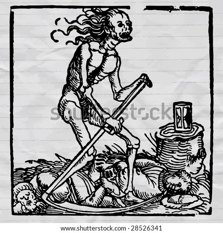 ink drawing medieval vector picture, black death - pestilence allegory - stock vector