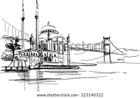 Ink drawing of a famous mosque in Istanbul against bridge crossing Bosporus