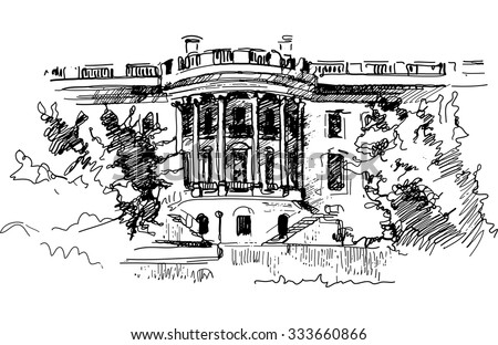 Ink drawing of White house residence in the US - vector
