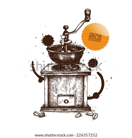 Ink hand drawn coffee grinder illustration on white background. Vintage vector coffee illustration. - stock vector