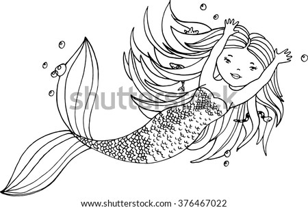 Ink hand drawn little mermaid with long hair and fishes under water  - stock vector
