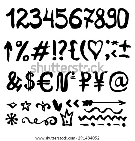 Ink Hand drawn numbers.Vector  alphabet,font,letters,marks,signs,decor elements.Written with brush,artistic sketch.Sign ,symbol money set. Black isolated - stock vector