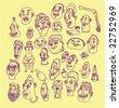Ink Head Doodles - Vector Illustrations - stock vector