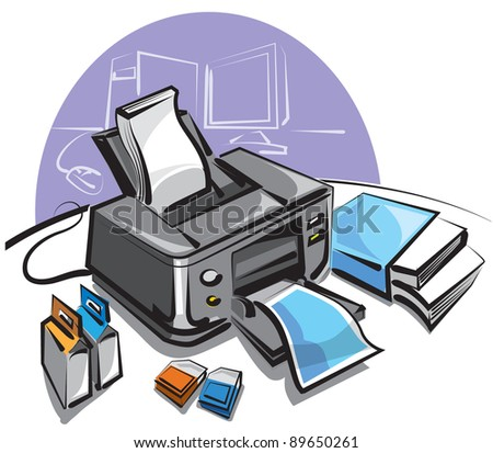 ink jet printer - stock vector