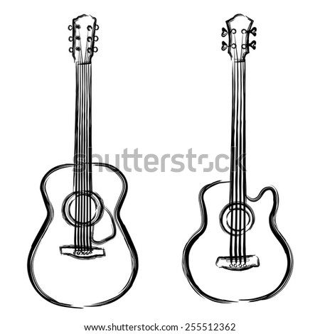 Ink paint acoustic and bass guitar - stock vector