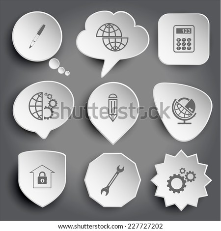 ink pen, shift globe, calculator, globe and gears, pencil, globe and lock, bank, spanner. White vector buttons on gray. - stock vector