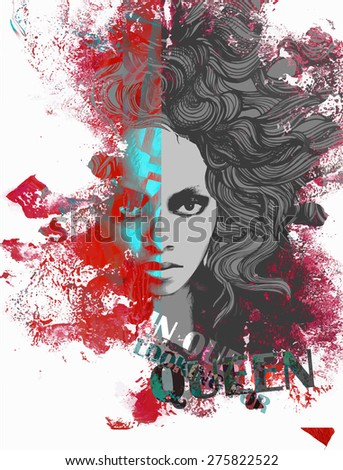 Ink print with a beautiful lady face, decorative hair and painted blots  for T-shirt - stock vector