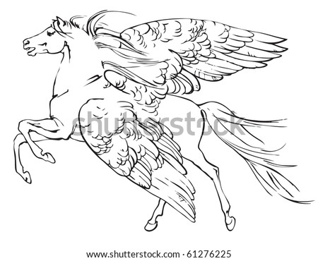 Ink sketch of mythical, winged horse