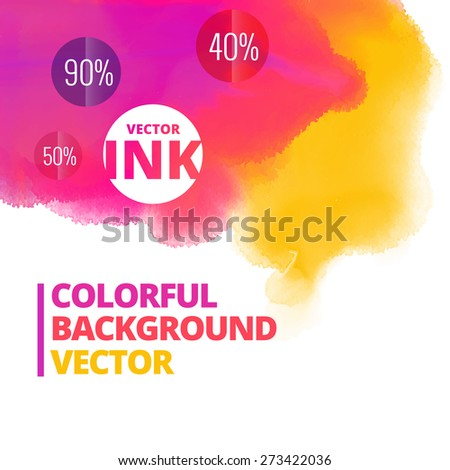 ink splash colors vector background design illustration - stock vector