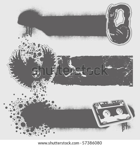 ink splashes banners set. Vector trace. - stock vector