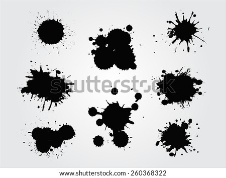 Ink splashes set.Abstract splashes for design use.Vector template.