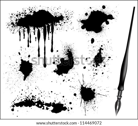 Ink Splat Set and black calligraphic pen - stock vector
