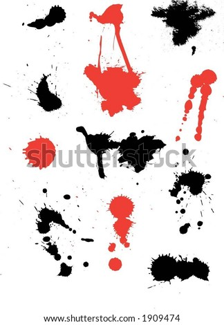 Ink splats (each splat is grouped individually so easy to change colours) - vector - stock vector