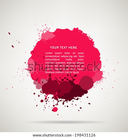 Ink splats. vector pink ink splashes,each splash is grouped individually ,so you can modify it as you want.  - stock vector