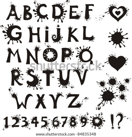 Ink Splatter Black Alphabet With Numbers isolated on White background. Vector illustration - stock vector