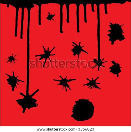ink splatters - stock vector