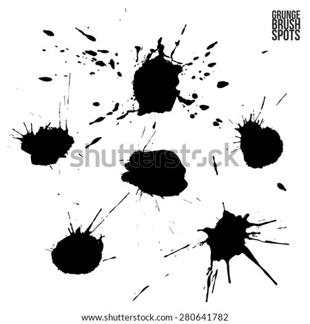 Ink stains collection isolated on white background. Vector design.