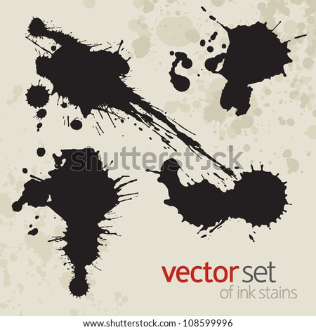 Ink stains, set 4 - stock vector