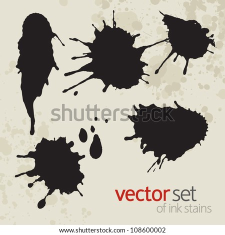Ink stains, set 3 - stock vector