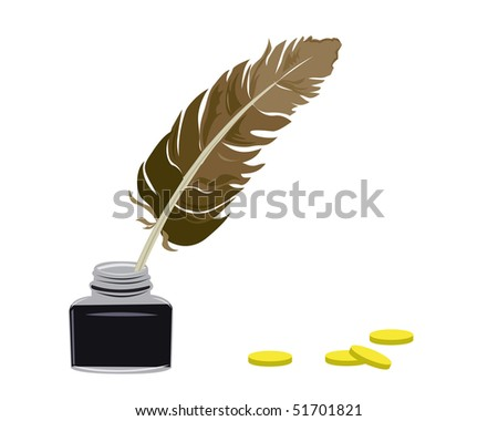 Inkstand and feather stand on a table - stock vector