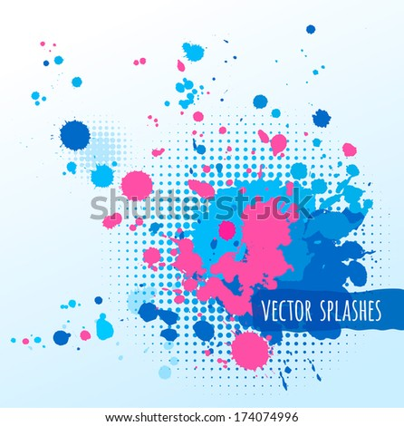 Inky colorful splashes. Isolated. - stock vector