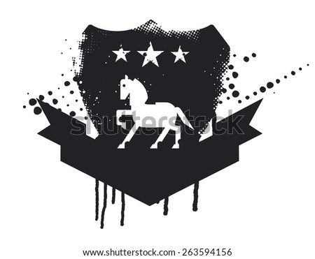 inky equestrian shield with horse and banner to copy space - stock vector