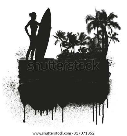 inky summer banner with girl surf rider and beach background - stock vector