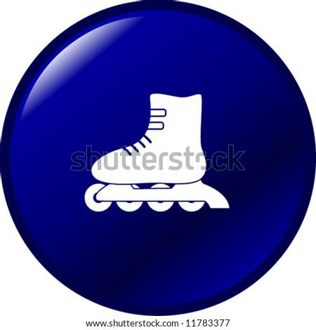 inline roller skate button - stock vector
